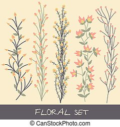 Vector floral set. Collection with leaves, flowers
