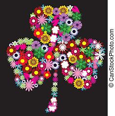 shamrock - vector floral shamrock