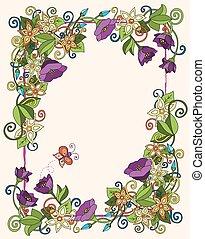 vector, floral, tarjeta, mano, dibujado, flores retro, y, hojas