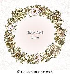 vector, floral, tarjeta, mano, dibujado, flores retro, y, hojas, en, círculo
