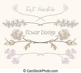 vector, floral, tekst, dividers., bloem, ontwerp onderdelen