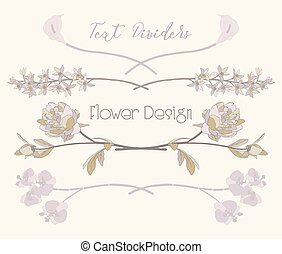 Vector Floral Text Dividers. Flower Design Elements