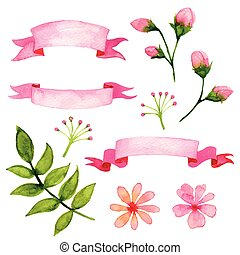 Vector Floral Watercolor Design Elements