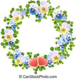 Vector floral wreath with flowers, hearts