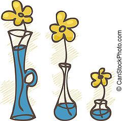 vector, flores, conjunto, illustration., vases.