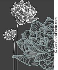 vector, flores, encima, fondo negro