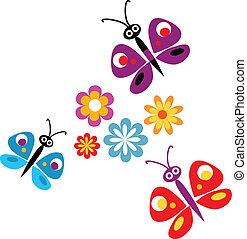 vector, flores, mariposas, primavera, ilustración