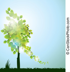 vector florescent tree