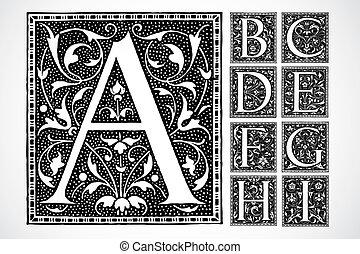 vector, florido, alfabeto, a-i