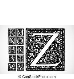 vector, florido, alfabeto, k-z