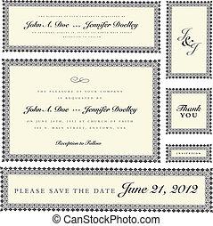 vector, florido, boda, marco, conjunto