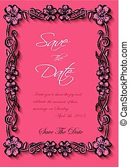 Vector flotal frame Silhouette for invitation and photo. EPS