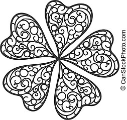 Vector flourish background black and white colored