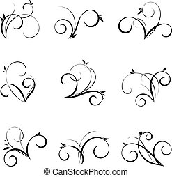 Vector flourishes and swirls collection. Decorative elements for design in vintage style
