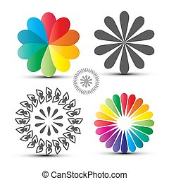 Vector Flover Icons Set. Colorful Circle Shapes Isolated on ...