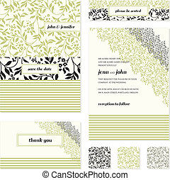 Vector Flower and Stripe Frame Set. Easy to edit. Perfect...