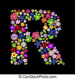 Vector flower font, letter R
