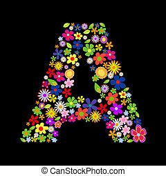 Vector flower font, letter A