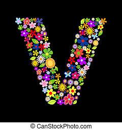 Vector flower font, letter V
