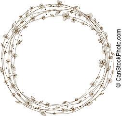 Vector flower frame design on white