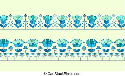 Vector flower horizontal header template for print and web design in peasant folk style. Geometry pattern inspired floral illustration in blue color.