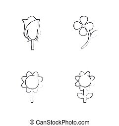 Vector Flower icon set Draw