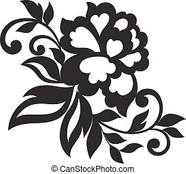 Vector flower ornament - Vector ornament of black flowers. ...