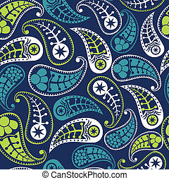 Vector flower paisley seamless pattern element