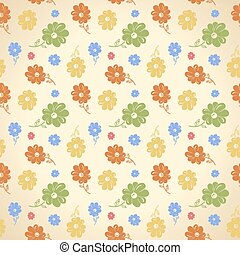 Vector flower pattern. Seamless background. Green yellow blue re