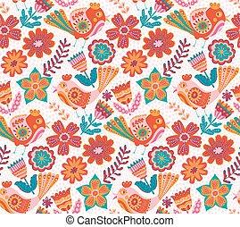 Vector flower pattern, seamless botanic texture