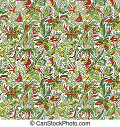 Vector flower pattern. Seamless botanic texture, flowers illustrations. Floral pattern in doodle style, spring floral background. Green and red on white background