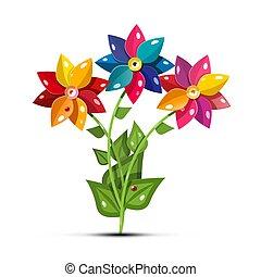 Vector Flower Symbol. Fresh Garden Flowers Isolated on White Background.