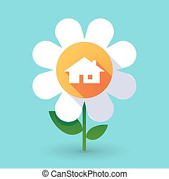 Vector flower with a house
