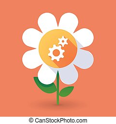 Vector flower with two gears