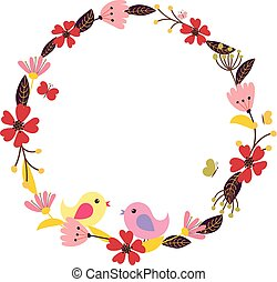 Vector flower wreath with birds and butterflies. Floral frame fo