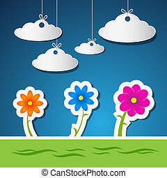 Flowers and Clouds Made From Paper With Blue Sky