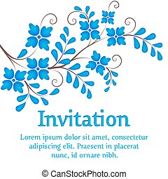 Vector flowers. Invitation or wedding card with elegant blue flowers on the branch.