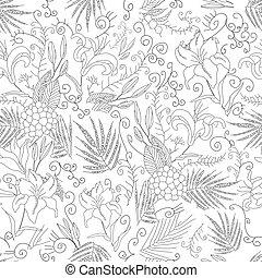 Vector flowers seamless pattern
