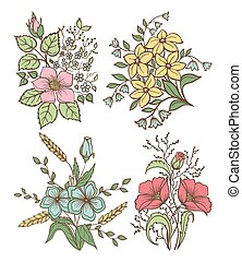 Vector flowers set. Colorful floral collection with leaves and flowers, Hand Draw Vintage .