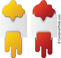 vector flowing attached labels - red and yellow