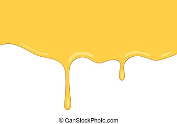 vector flows of sweet honey on the white background in cartoon style