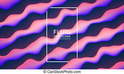 Vector Fluid Design Abstract Background. Digital 3D Conceptual Contemporary Generative Art Illustration. Dynamic Motion Liquid Bright Glowing Shapes Flow Effect Wallpaper