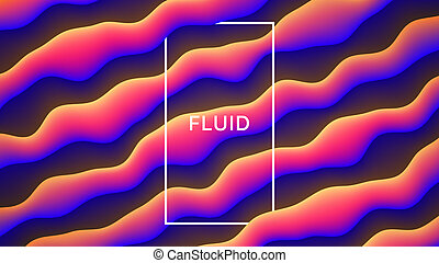 Vector Colorful Fluid Design Abstract Background. Digital 3D Conceptual Contemporary Generative Art Illustration. Dynamic Motion Liquid Shapes Flow Effect Wallpaper