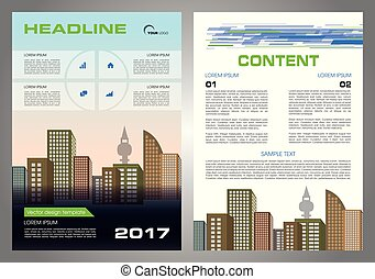 Vector flyer, corporate business, annual report, brochure design and cover presentation with blue and green color.