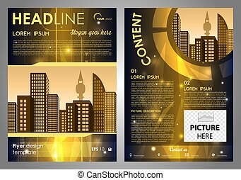 Vector flyer, corporate business, annual report, brochure design and cover presentation with gold hi-tech background.