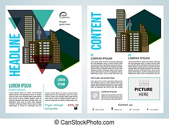 Vector flyer, corporate business, annual report, brochure design and cover presentation with vector city in blue color