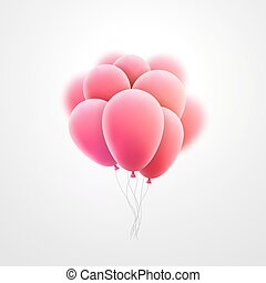 Vector flying realistic pink glossy balloons holiday...