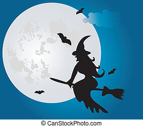 vector flying witch at night