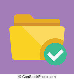 Vector Folder and Tick Icon