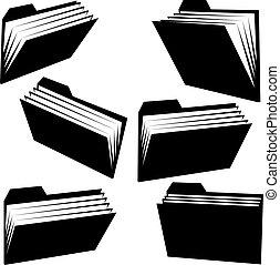 Vector folder silhouettes on white background